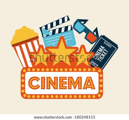 cinema design over white background vector illustration - stock vector