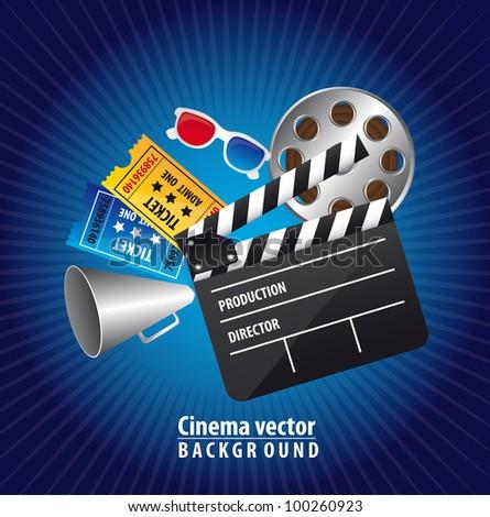 cinema elements over blue background. vector illustration - stock vector