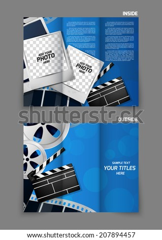 Cinema entertainment reel clapper design in blue color for tri-fold brochure - stock vector