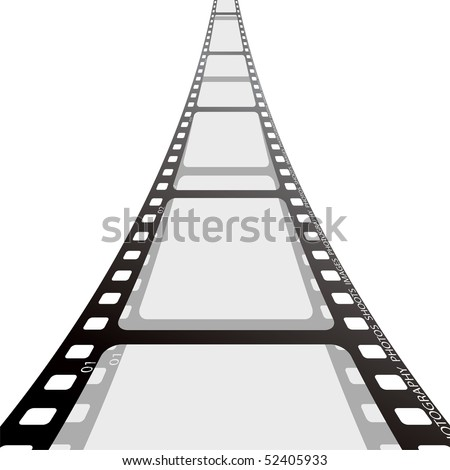 Cinema film strip blank with drop shadow on white background - stock vector