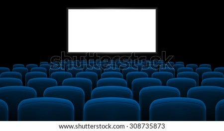 Cinema hall with white screen and blue row chairs - stock vector