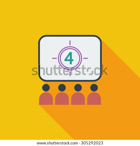 Cinema icon. Flat vector related icon with long shadow for web and mobile applications. It can be used as - logo, pictogram, icon, infographic element. Vector Illustration. - stock vector