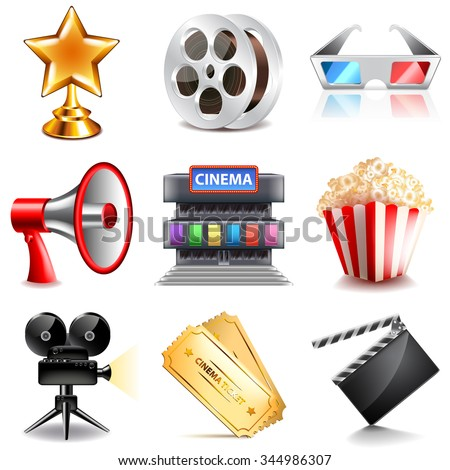 Cinema icons detailed photo realistic vector set - stock vector