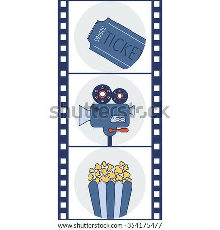 Cinema icons. Movie camera. Vector illustration  - stock vector
