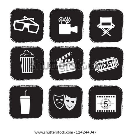 cinema icons over white background vector illustration - stock vector