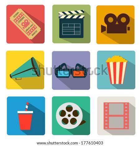 Cinema icons set - stock vector