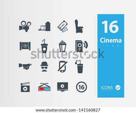 Cinema icons ( Set of 18 Quality icons ) - stock vector