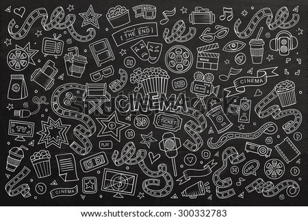 Cinema, movie, film doodles hand drawn chalkboard vector symbols and objects - stock vector