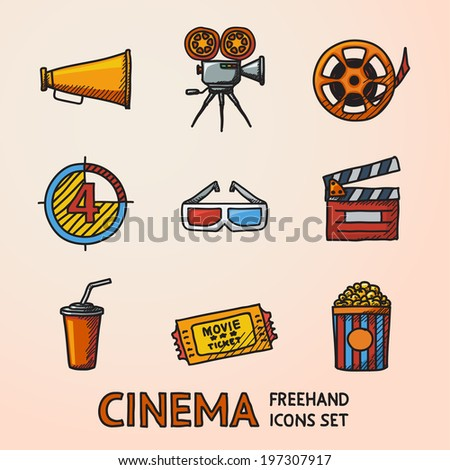 Cinema (movie) freehand icons set with - cinema projector, film strip, 3D glasses,  clapboard, popcorn in a striped tub, cinema ticket, glass of drink. - stock vector