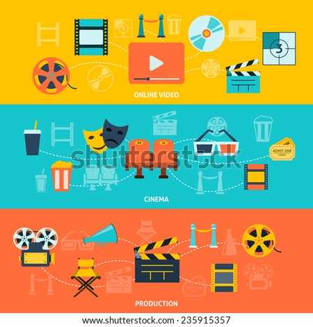 Cinema movie premiere tickets video online film production retro symbols  horizontal banners set abstract flat vector illustration - stock vector