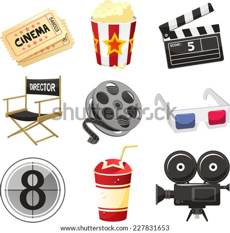 Cinema movie theater vector objects icon set vector illustration. - stock vector