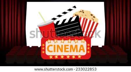 cinema scene - stock vector