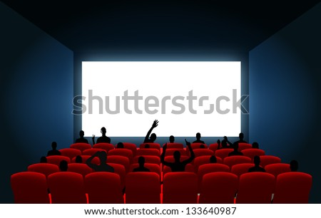 cinema screen and black silhouettes to place your concept. vector design - stock vector