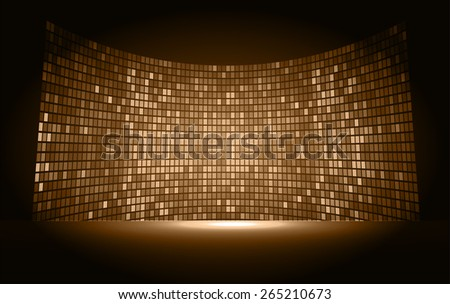 cinema screen for movie presentation. Light Abstract Technology background for computer graphic website internet and business. brown background. Pixel, mosaic, table. - stock vector