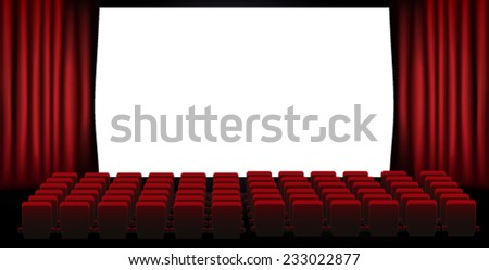 cinema screen with open red seats - stock vector