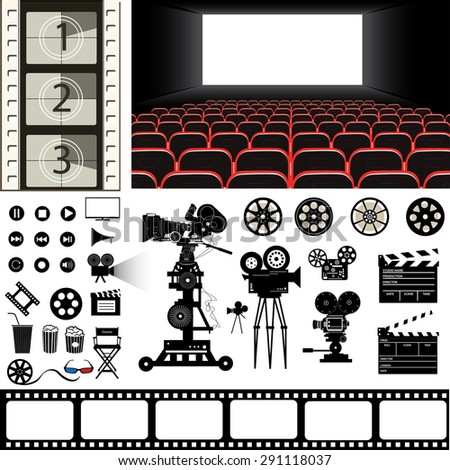 cinema theme vector set - stock vector