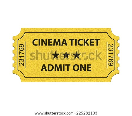 Cinema ticket. Admit one. Vector illustration - stock vector