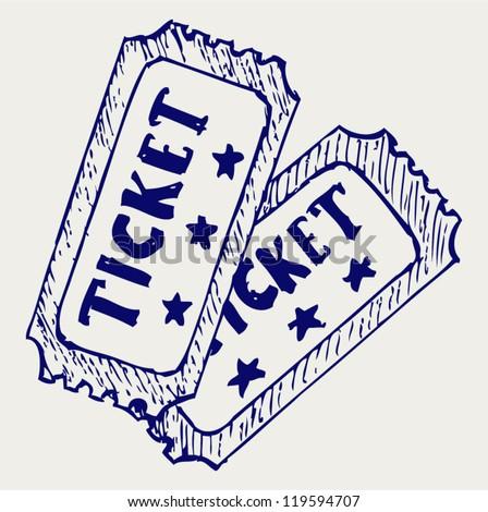 Cinema ticket. Doodle style - stock vector