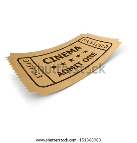 Cinema ticket in retro style design isolated on white. Vintage symbol of film industry. Entertainment and leisure.  - stock vector