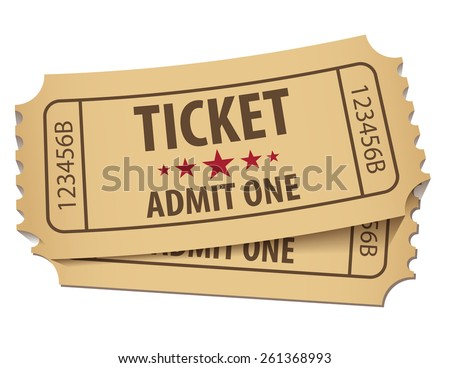 Cinema ticket. Vector illustration. Conceptual illustration. Isolated on white background - stock vector