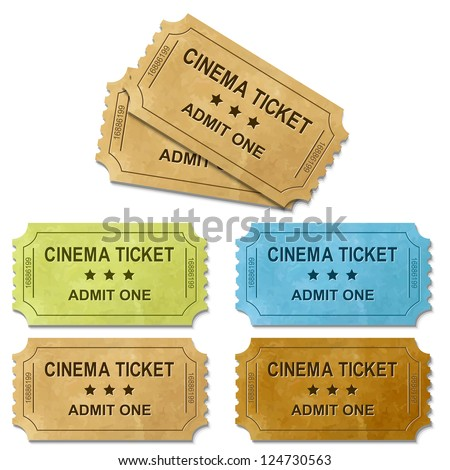 Cinema Ticket With Gradient Mesh, Isolated On White Background, Vector Illustration - stock vector