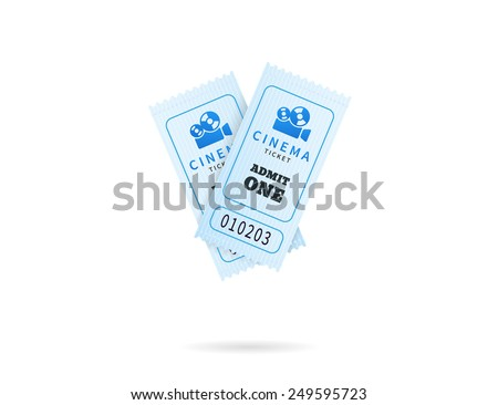 Cinema tickets. Temlate vector illustration for cinema. Text outlined - stock vector