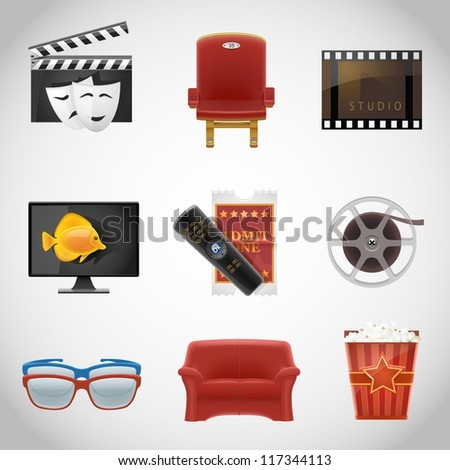 cinema vector icons - stock vector