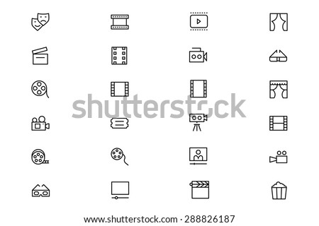 Cinema Vector Line Icons 4 - stock vector