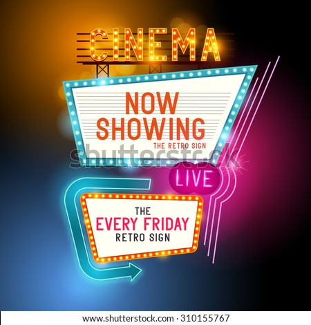 Cinema vector sign with glowing neon lights - stock vector