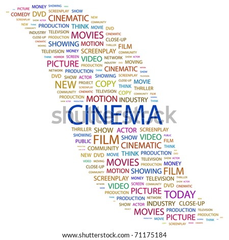 CINEMA. Word collage on white background. Illustration with different association terms. - stock vector