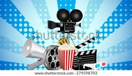 cinematograph in cinema films and popcorn - stock vector