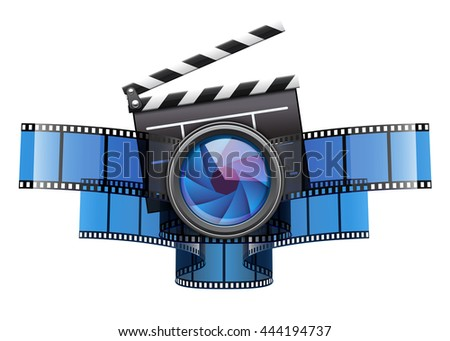 Cinematography creative art concept. Online movie theater cinema icon design with clapper for filmmaking. Film tape and glass lens vector illustration isolated on white transparent background - stock vector