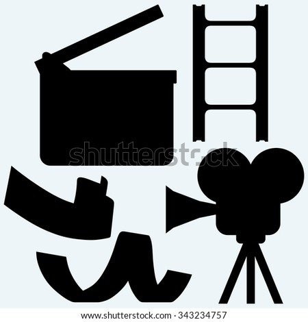 Cinematography. Video camera and film frame. Isolated on blue background. Vector silhouettes - stock vector