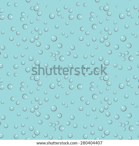 Circle and liquid, light design, clear soapy shiny, vector illustration. Bubbles in water on blue background horizontal seamless pattern. - stock vector