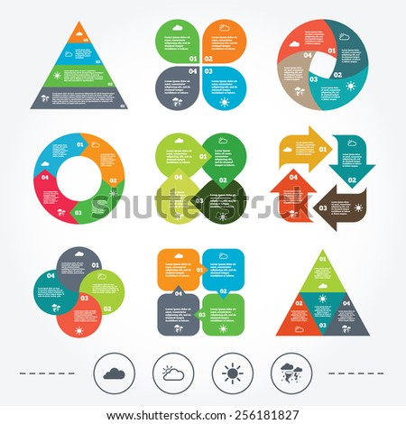 Circle and triangle diagram charts. Weather icons. Cloud and sun signs. Storm or thunderstorm with lightning symbol. Gale hurricane. Background with 4 options steps. Vector - stock vector