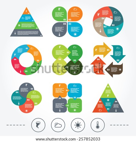 Circle and triangle diagram charts. Weather icons. Cloud and sun signs. Storm symbol. Thermometer temperature sign. Background with 4 options steps. Vector - stock vector