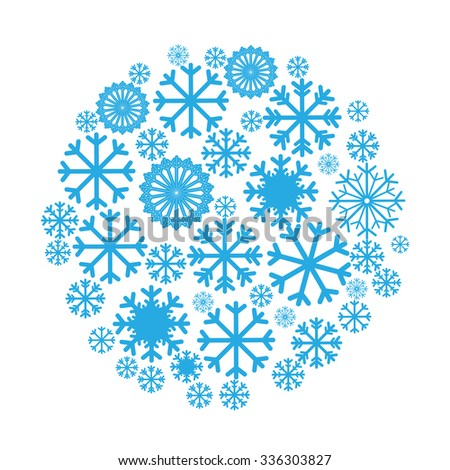 Circle banner with Christmas and New Year symbols including snowflake. Design element for Christmas card, Christmas banner or flyer with space text. Vector templates - stock vector