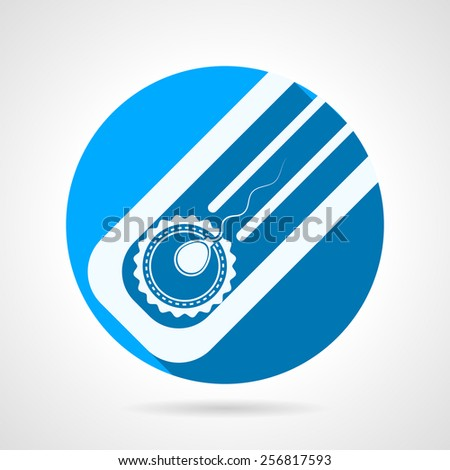 Circle blue flat vector icon with white silhouette elements for fertilization in vitro. Long shadow design. - stock vector