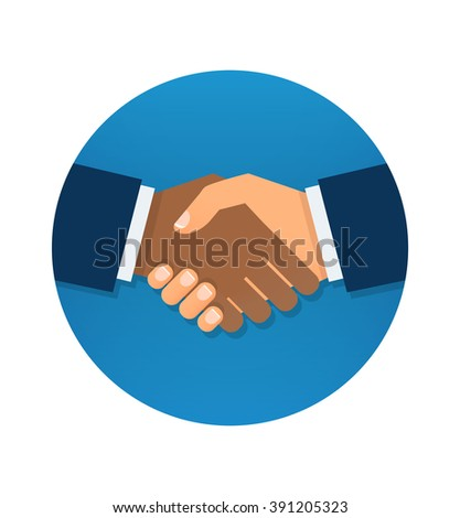 Circle blue icon handshake. Background for business and finance. - stock vector