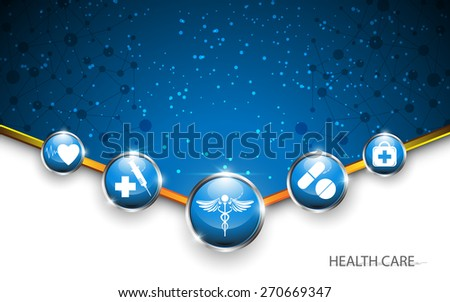 circle button medical health care concept background - stock vector