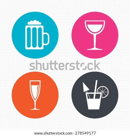 Circle buttons. Alcoholic drinks icons. Champagne sparkling wine and beer symbols. Wine glass and cocktail signs. Seamless squares texture. Vector - stock vector