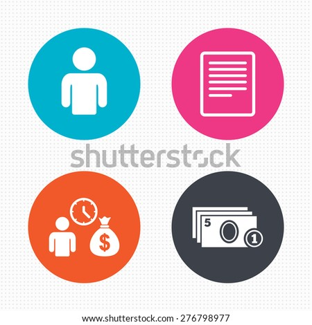 Circle buttons. Bank loans icons. Cash money bag symbol. Apply for credit sign. Fill document and get cash money. Seamless squares texture. Vector - stock vector