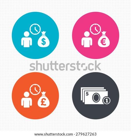 Circle buttons. Bank loans icons. Cash money bag symbols. Borrow money sign. Get Dollar money fast. Seamless squares texture. Vector - stock vector