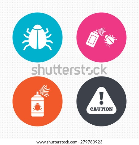 Circle buttons. Bug disinfection icons. Caution attention symbol. Insect fumigation spray sign. Seamless squares texture. Vector - stock vector