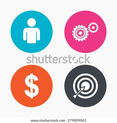 Circle buttons. Business icons. Human silhouette and aim targer with arrow signs. Dollar currency and gear symbols. Seamless squares texture. Vector - stock vector