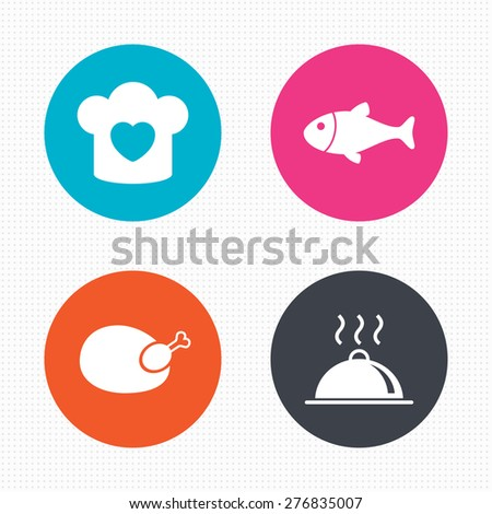 Circle buttons. Chief hat with heart and cooking pan icons. Fish and chicken signs. Hot food platter serving symbol. Seamless squares texture. Vector - stock vector