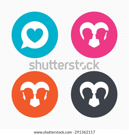 Circle buttons. Couple love icon. Lesbian and Gay lovers signs. Romantic homosexual relationships. Speech bubble with heart symbol. Seamless squares texture. Vector - stock vector
