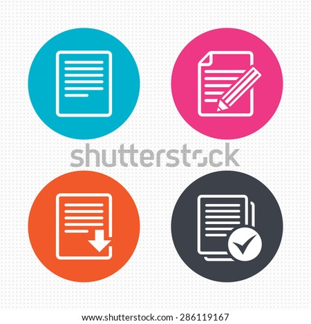 Circle buttons. File document icons. Download file symbol. Edit content with pencil sign. Select file with checkbox. Seamless squares texture. Vector - stock vector