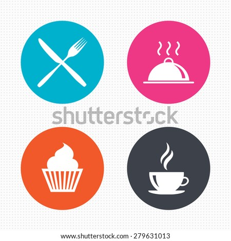 Circle buttons. Food and drink icons. Muffin cupcake symbol. Fork and knife sign. Hot coffee cup. Food platter serving. Seamless squares texture. Vector - stock vector