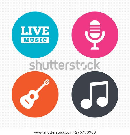 Circle buttons. Musical elements icons. Microphone and Live music symbols. Music note and acoustic guitar signs. Seamless squares texture. Vector - stock vector